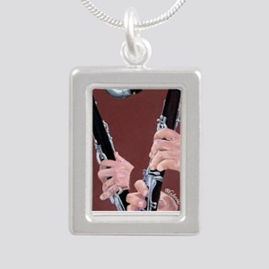 Clarinet Hands Shirt Silver Portrait Necklace
