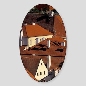 Cesky Krumlov Town rooftops from Kr Sticker (Oval)