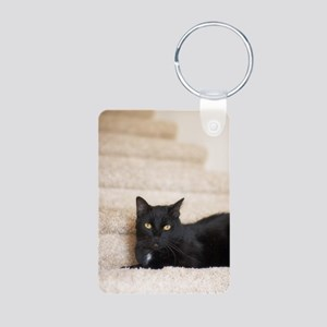 5x8_journal_blackCat_0123 Aluminum Photo Keychain