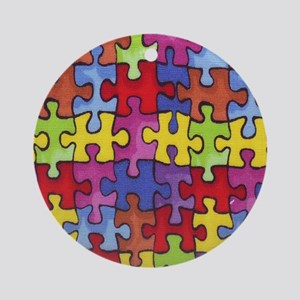 6.57_AUTISM-CURE-PUZZLE Round Ornament