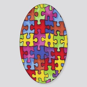6.57_AUTISM-CURE-PUZZLE Sticker (Oval)
