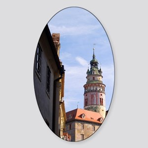 Colorful town center and castle in  Sticker (Oval)