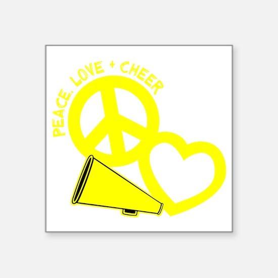 """P,L,Cheer, yellow Square Sticker 3"""" x 3"""""""