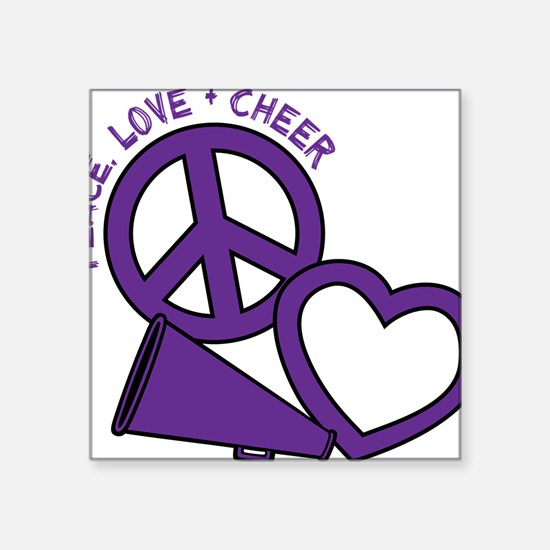 "P,L,Cheer, violet Square Sticker 3"" x 3"""