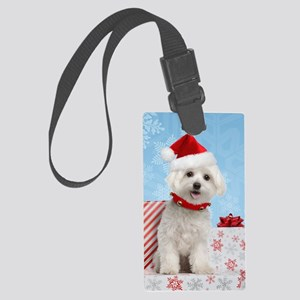 maltesechristmasfront Large Luggage Tag