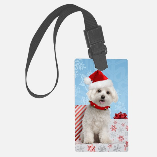 maltesechristmasfront Luggage Tag