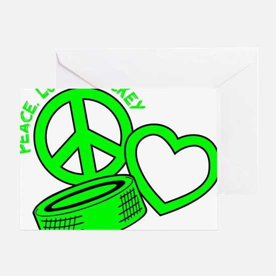 P,L,Hockey, neon green2 Greeting Card
