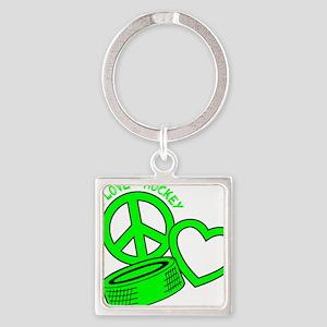 P,L,Hockey, neon green2 Square Keychain