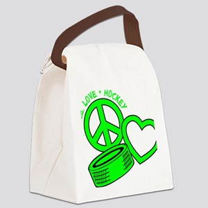 P,L,Hockey, neon green2 Canvas Lunch Bag