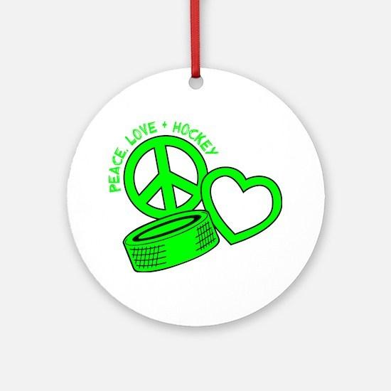 P,L,Hockey, neon green2 Round Ornament