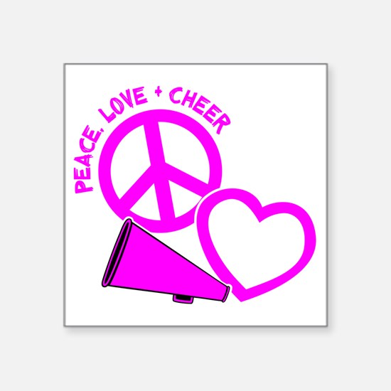 """P,L,Cheer, hot pink Square Sticker 3"""" x 3"""""""