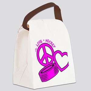P,L,Hockey, hot pink2 Canvas Lunch Bag