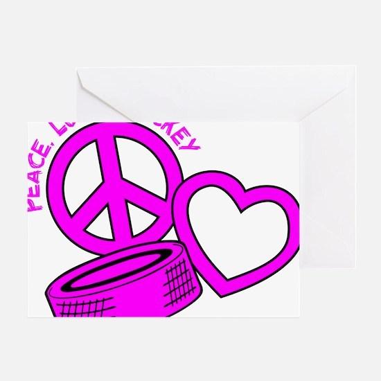 P,L,Hockey, hot pink2 Greeting Card