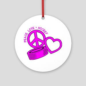 P,L,Hockey, hot pink2 Round Ornament