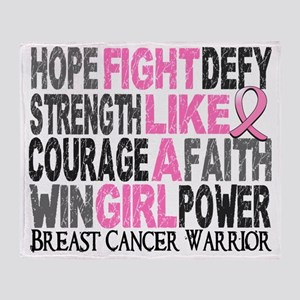 - Fight Like A Girl Breast Cancer 23 Throw Blanket
