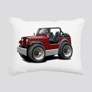 Jeep Maroon Rectangular Canvas Pillow