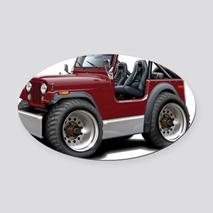 Jeep Maroon Oval Car Magnet