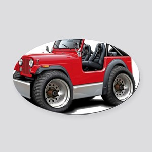 Jeep Red Oval Car Magnet