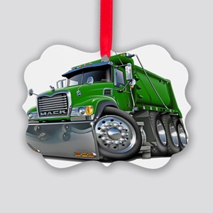 Mack Dump Truck Green Picture Ornament
