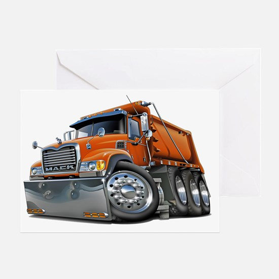 Mack Dump Truck Orange Greeting Card