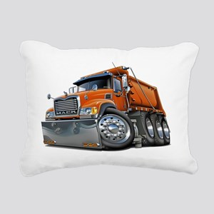 Mack Dump Truck Orange Rectangular Canvas Pillow