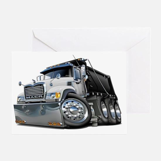 Mack Dump Truck White-Black Greeting Card