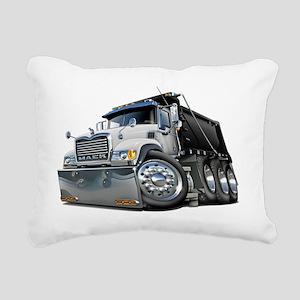 Mack Dump Truck White-Bl Rectangular Canvas Pillow