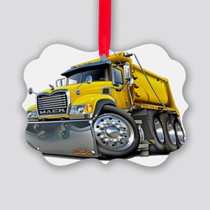 Mack Dump Truck Yellow Picture Ornament
