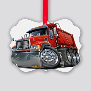 Mack Dump Truck Red Picture Ornament