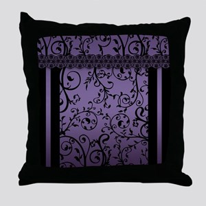 Purple Blend Scroll Leaf Pattern Throw Pillow