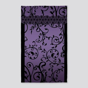 Purple Blend Leaf Scroll Pattern 3'X5' Area Rug