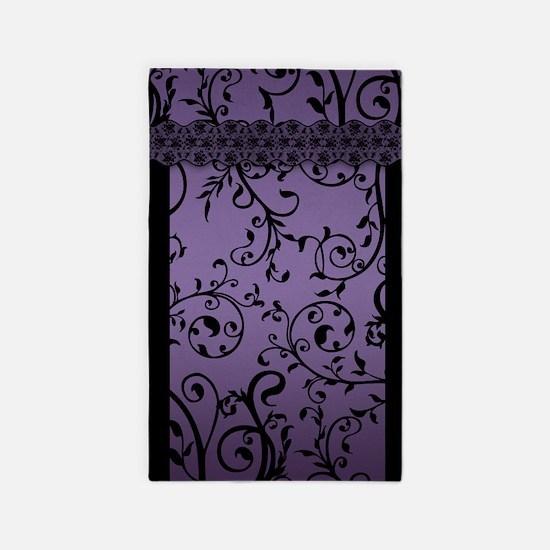 Purple Blend Leaf Scroll Pattern 3'X5' Area Rug