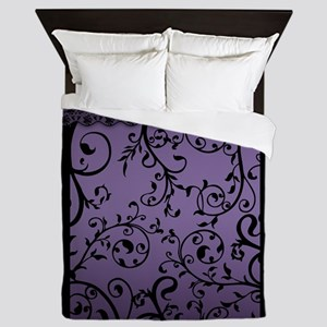 Purple Blend Scroll Leaf Pattern Queen Duvet