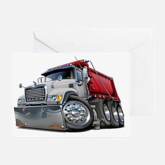 Mack Dump Truck White-Red Greeting Card