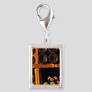 Old wine bottles aging in th Silver Portrait Charm
