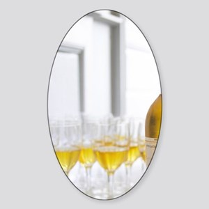 A glass golden yellow of Chateau de Sticker (Oval)