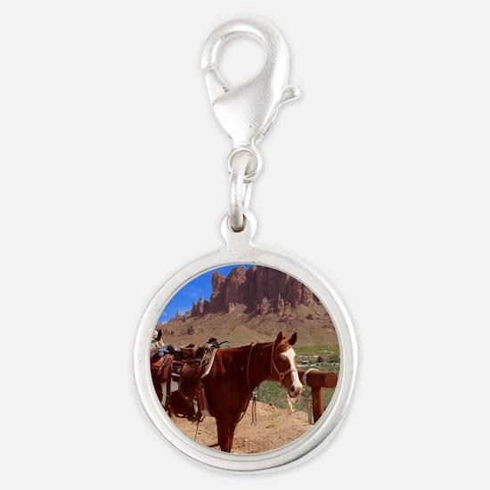 Saddled Horse Silver Round Charm