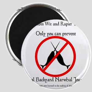 Narwhal Jousting 10x10 BLACK Magnet