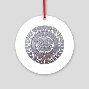 Modern Mayan Calender Round Ornament