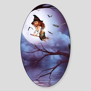little_witch_framed_panel_print_sma Sticker (Oval)