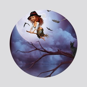 little_witch_framed_panel_print_sma Round Ornament