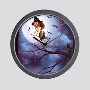 little_witch_framed_panel_print_small Wall Clock