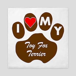 I Heart My Toy Fox Terrier Queen Duvet