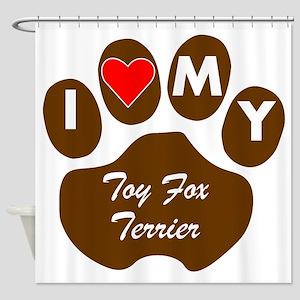 I Heart My Toy Fox Terrier Shower Curtain