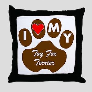 I Heart My Toy Fox Terrier Throw Pillow