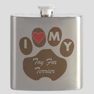 I Heart My Toy Fox Terrier Flask