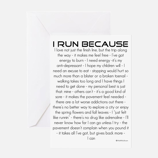 irunbecause Greeting Card