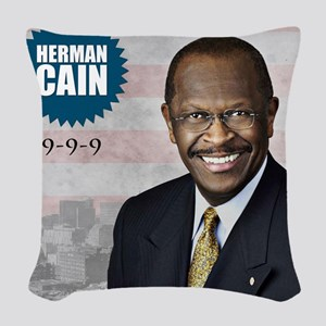 sept_herman_cain Woven Throw Pillow