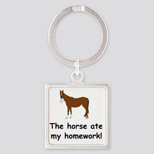 horse ate my homework Square Keychain
