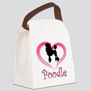 PoodleSilhouetteHeart Canvas Lunch Bag